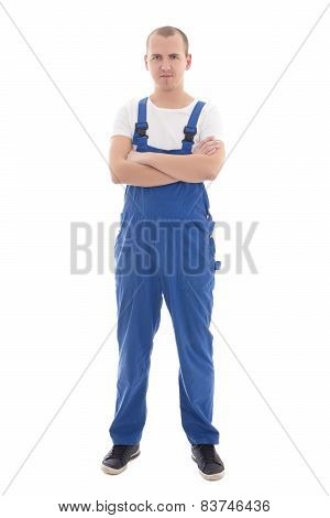 Young Handsome Man In Blue Workwear Isolated On White
