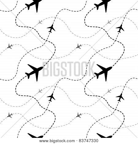 Airline routes with planes on white seamless pattern