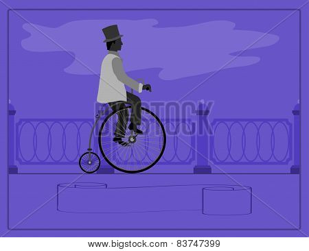 Young man on a retro bicycle