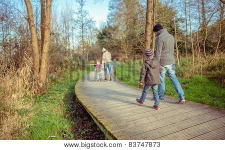 Family walking together holding hands in the forest