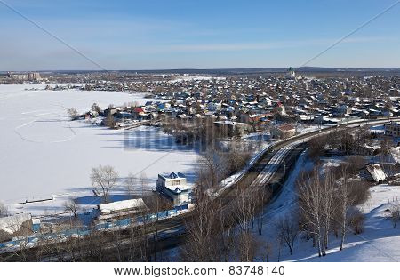 View from the hill to the Old Fox Galyanku and pond. Nizhny Tagil. Sverdlovsk region. Russia.