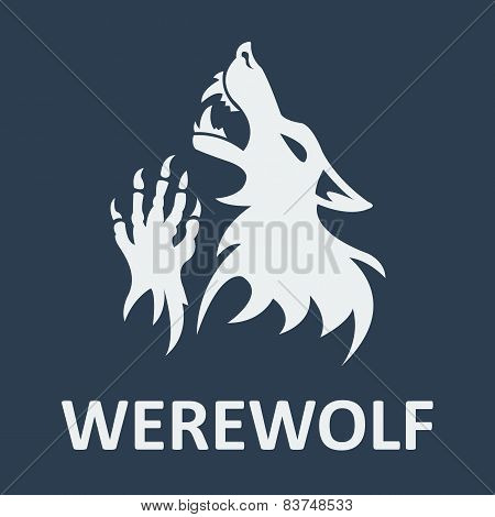 Vector werewolf stencil. Dark color.
