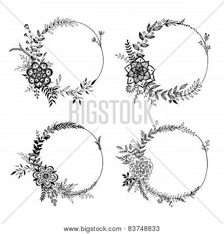 Set Of Floral Wreaths.