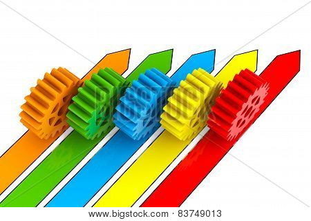 Business Process Concept. Gears Over Arrows