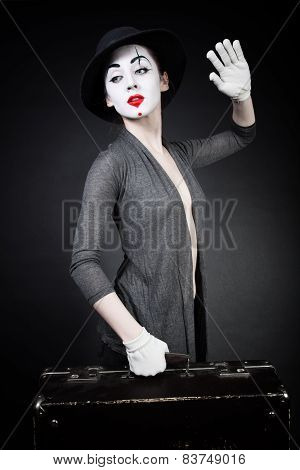 Woman Mime In Hat With Suitcase