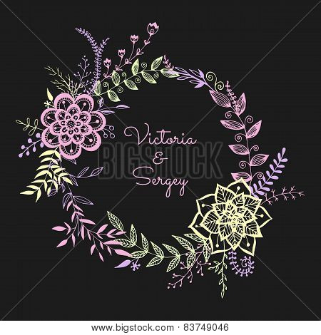 Floral Wreath On The Dark Background.