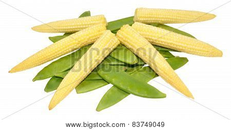 Baby Sweet Corn And Mangetout Peas