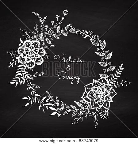 Floral Wreath On The Dark Background.