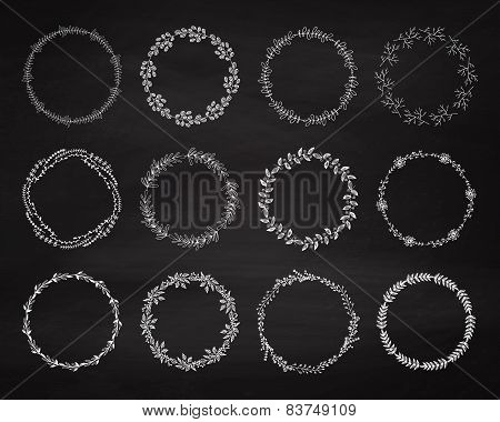 Set Of Floral Wreath On The Chalkboard.