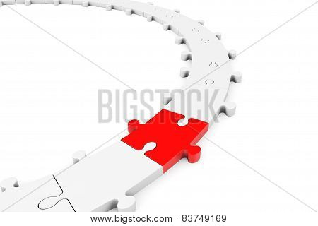 Puzzle Jigsaw Ring With Red Piece