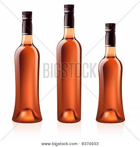 Bottles of cognac (brandy). Vector illustration.