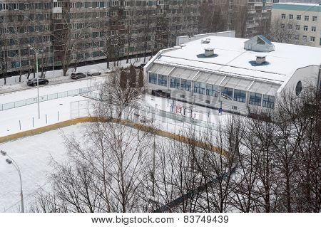 Gymnasium Building And Hockey Field