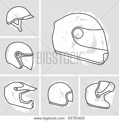 Motorcycle helmets vector set