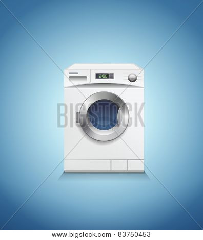 Washing machine on blue, vector