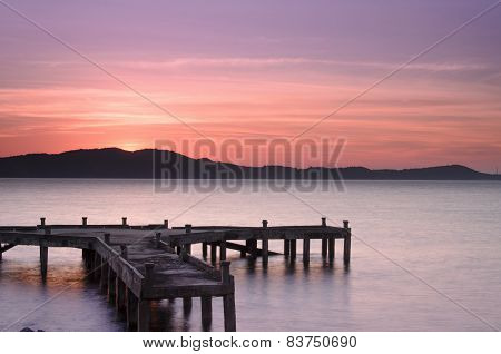 Pier at sunrise, eastern Thailand