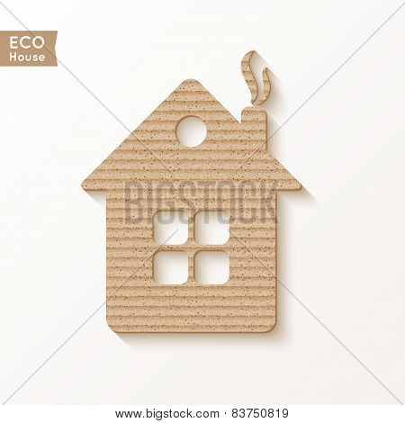 House With The Texture Of Corrugated Cardboard.