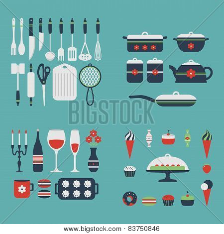 Set Of Kitchen Utensils And Food.