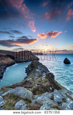 Sunset At Boscastle In Cornwall
