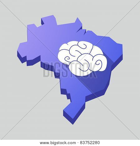 Purple Brazil Map With A Brain