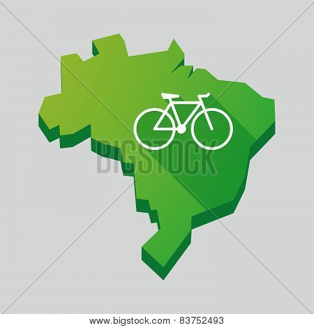 Green Brazil Map With A Bicycle