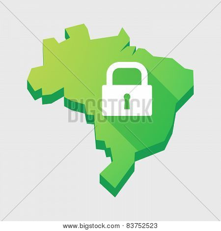 Green Brazil Map With A Lock Pad