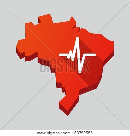 Red Brazil Map With A Heart Beat Sign