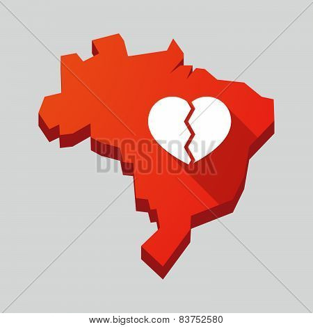 Red Brazil Map With A Broken Heart
