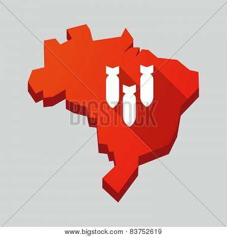 Red Brazil Map With Bombs