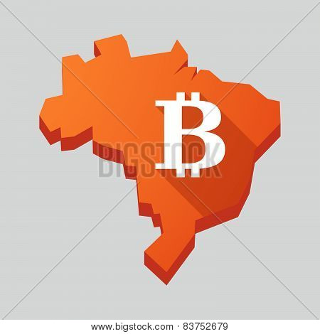 Orange Brazil Map With A Bitcoin Sign