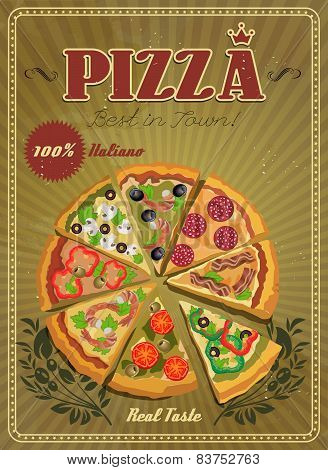 Vector poster with pizza and a slice of pizza.