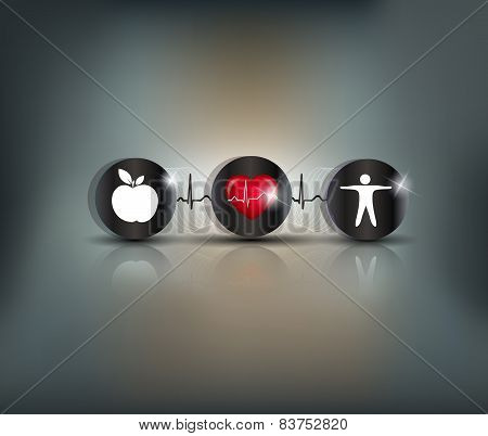 Exercise, Healthy Diet And Cardiovascular Health Symbols