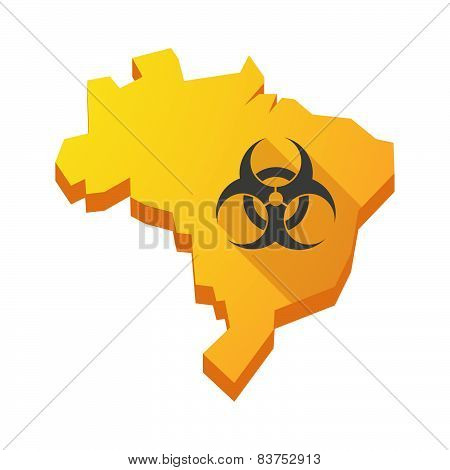 Yellow Brazil Map With A Biohazard Sign