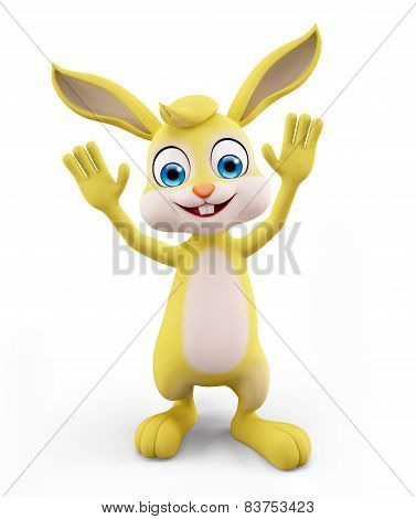 Easter Bunny With Saying Hi Pose