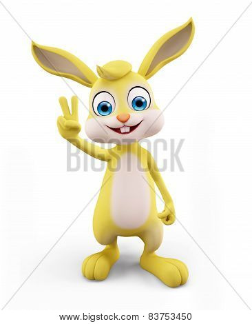 Easter Bunny With Win Pose
