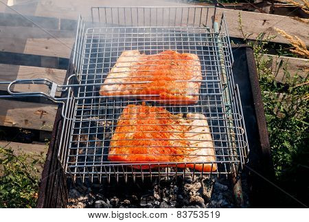 fish kebabs from salmon grilling at nature