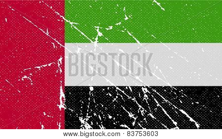 Flag Of United Arab Emirates With Old Texture. Vector