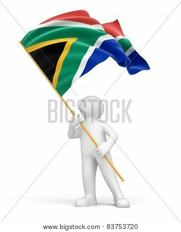 Man and South African republic flag (clipping path included)