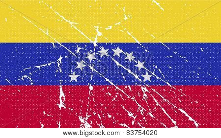 Flag Of Venezuela With Old Texture. Vector