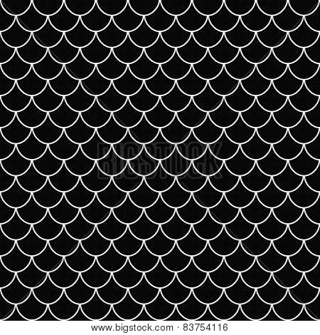 Black And White Shell Tiles Pattern Repeat Background