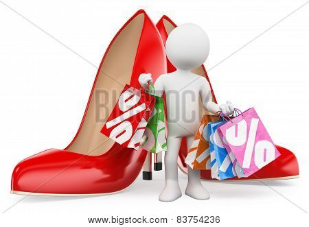 3D White People. Shopping Woman With Bags. Fashion