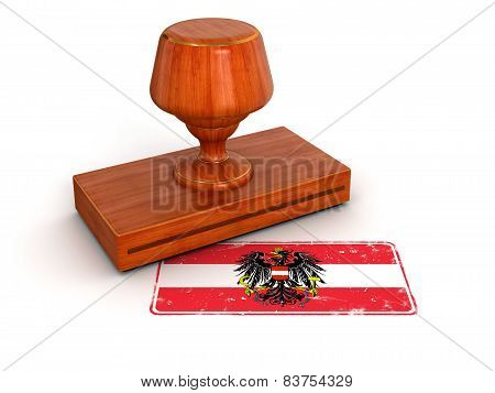 Rubber Stamp Austrian flag (clipping path included)