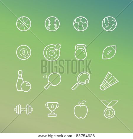 Vector Linear Sport And Fitness Icons