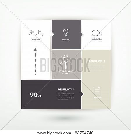 Conceptual flat template. Simply tab, scheme for infographic.