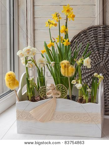 Easter Decoration Windowsill Pots With Daffodils