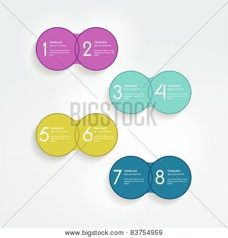 Two elements scheme, diagram. Infographic duo template. Various color banners.