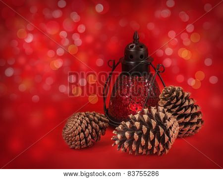 Lantern With Cones On A Red Background