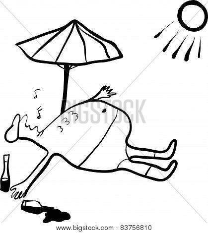sketch of a man asleep under the scorching sun