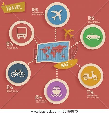 Travel and map info graphic design,clean vector