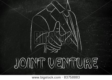 Ceo Or Business Man Pointing Forward, With The Writing Joint Venture