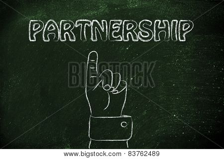 Hand Pointing At The Writing Partnership